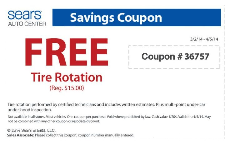Sears Auto Tire Coupon Code Pinned March 13th Tire Rotation Free at Sears Auto Coupon Via the